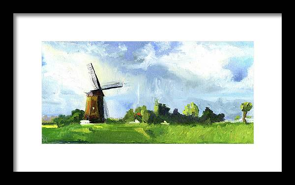 Netherlands Framed Print featuring the painting Dutch Landscape by Lelia Sorokina