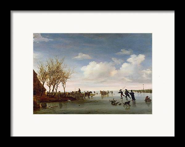 Dutch Framed Print featuring the painting Dutch Landscape With Skaters by Salomon van Ruysdael