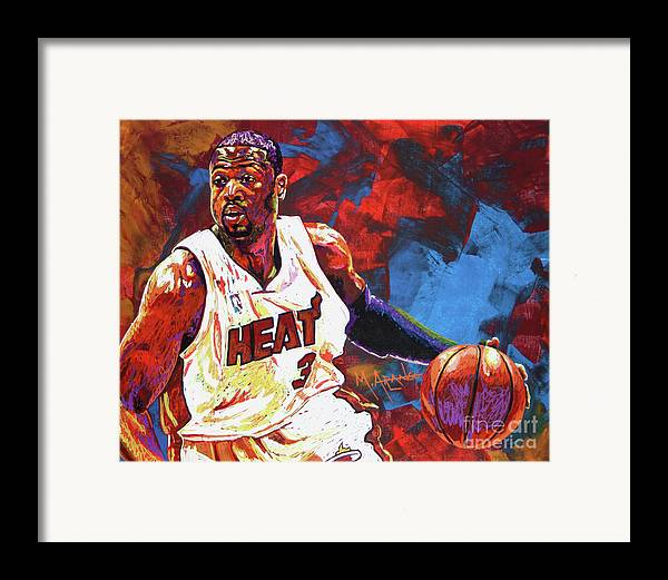 Dwyane Wade Framed Print featuring the painting Dwyane Wade 2 by Maria Arango