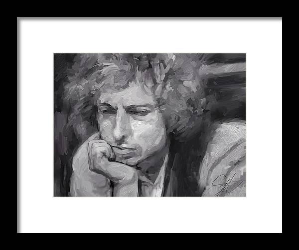 Bob Dylan Music Portrait Musician Rock Framed Print featuring the digital art Dylan by Scott Waters
