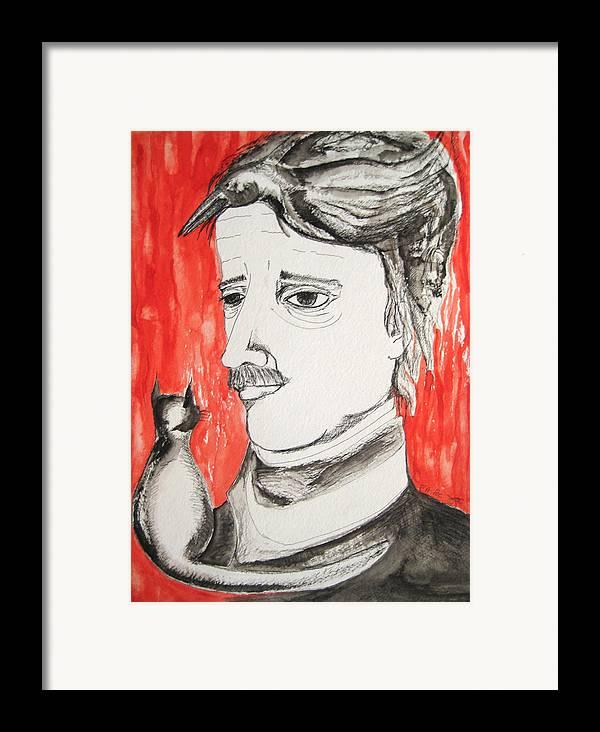 Edgar Poe Watercolor Portrait Cat Raven Nevermore Lenore Darkestartist Darkest Artist Black Red Framed Print featuring the painting E. A. Poe by Darkest Artist
