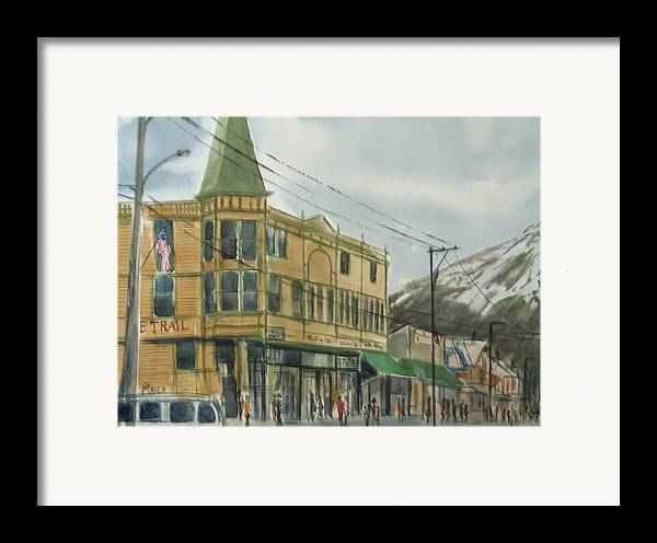 Cityscape Framed Print featuring the painting E Trail by Pete Maier