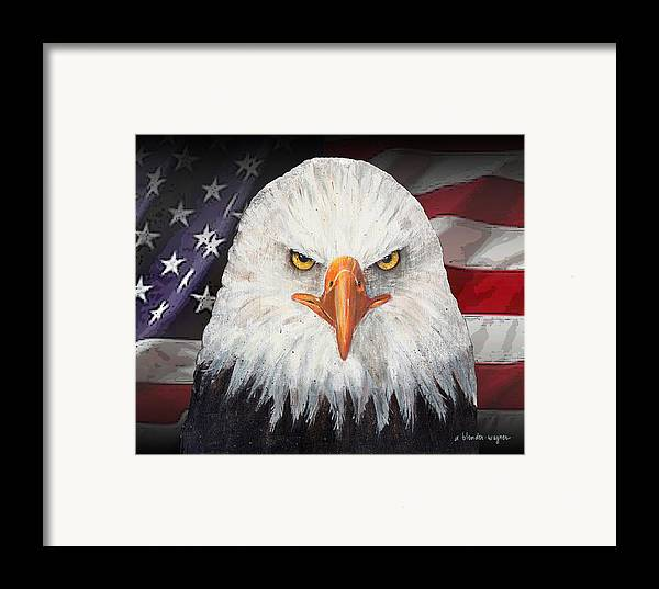 Eagle Framed Print featuring the mixed media Eagle And The Flag by Arline Wagner