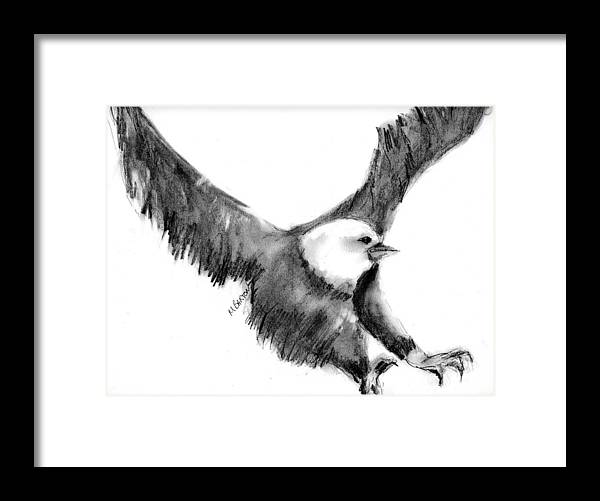 Eagle Framed Print featuring the drawing Eagle In Flight by Marilyn Barton