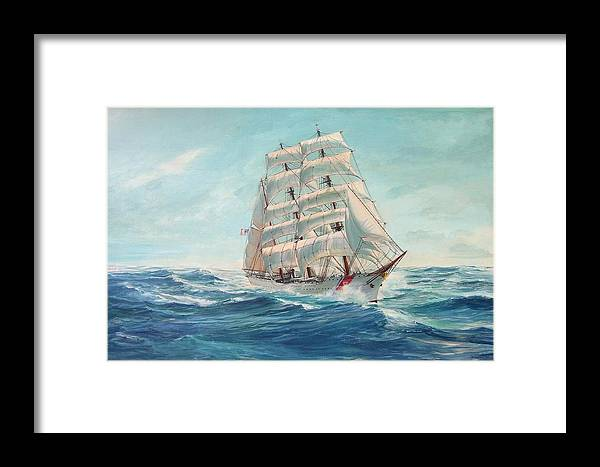 Coast Guard Training Ship - Eagle Newport Framed Print featuring the painting Sailing Eagle by Perry's Fine Art