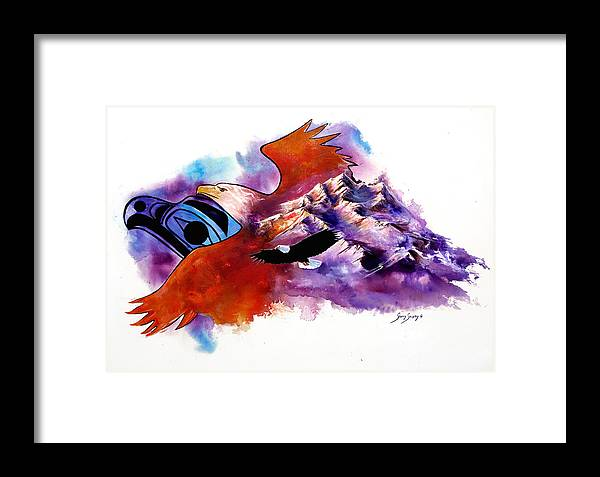 Bird Framed Print featuring the painting Eagle Rise by Sherry Shipley