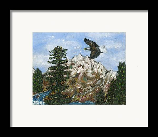 Eagle In Flight To Its Nest With Montana Mountains In Background Framed Print featuring the painting Eagle To Eaglets In Nest by Tanna Lee M Wells