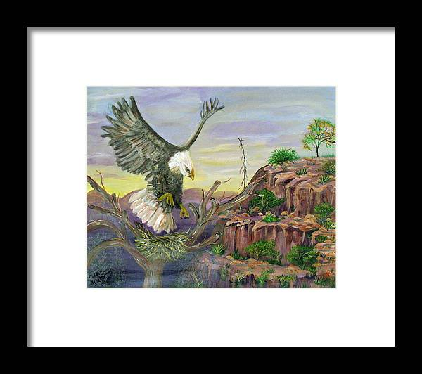 Eagle Framed Print featuring the painting Eagles Nest by Mikki Alhart