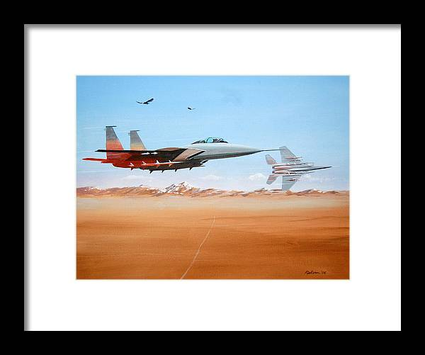 Air Force Eagle Eagles Jet Fighter Desert Landscape Military F-15 Patriotism Framed Print featuring the painting Eagles by Werner Pipkorn