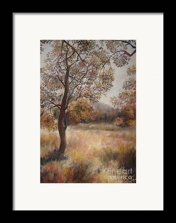 Landscape Framed Print featuring the painting Early Autumn by Julianna Ziegler