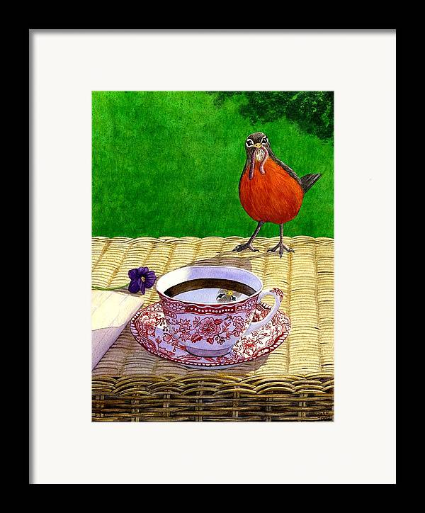 Robin Framed Print featuring the painting Early Bird by Catherine G McElroy