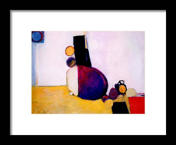 Abstract Framed Print featuring the painting Early Blob Having A Ball by Marlene Burns
