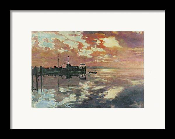 Harbor Framed Print featuring the painting Early Departure by Robert Tutsky