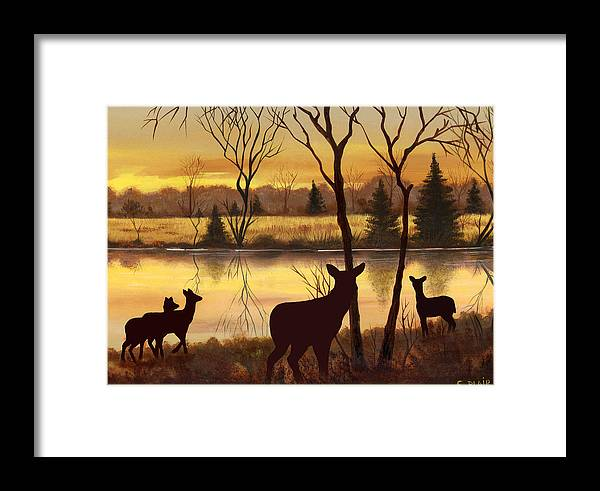 Deer Wildlife Landscape Water Woods Sunrise Framed Print featuring the painting Early Morning Alert2 by Eileen Blair
