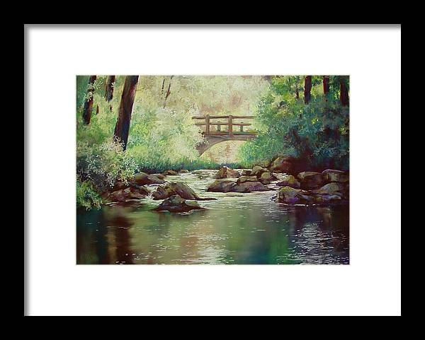 Landscape Framed Print featuring the pastel Early Morning at Gulpha Gorge by Marlene Gremillion