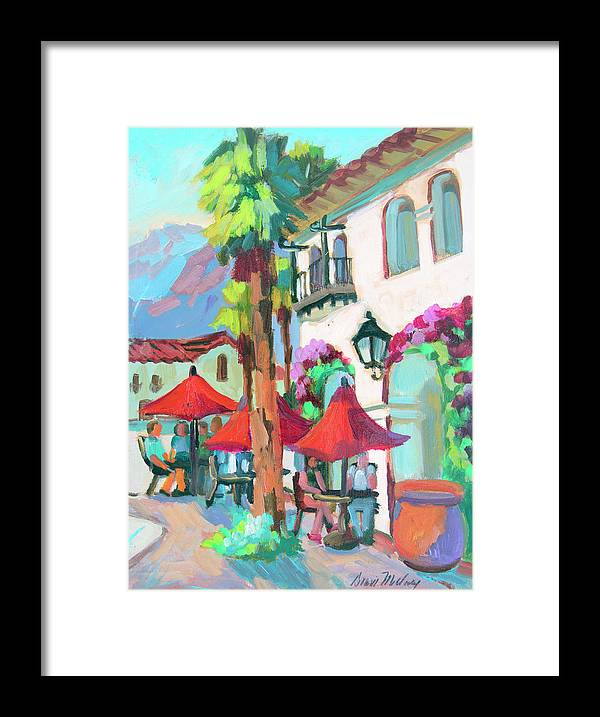Coachella Valley Framed Print featuring the painting Early Morning Coffee In Old Town La Quinta 2 by Diane McClary