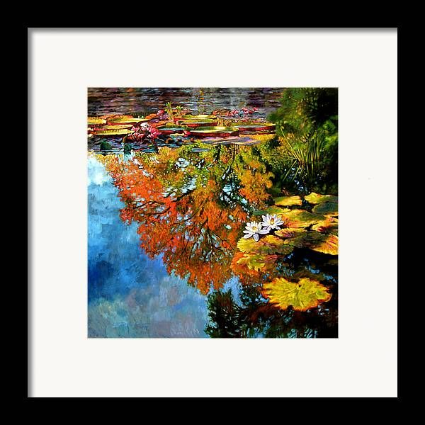 Landscape Framed Print featuring the painting Early Morning Fall Colors by John Lautermilch