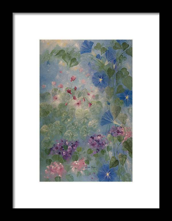 Floral Framed Print featuring the painting Early Morning Glory by Linda Rauch