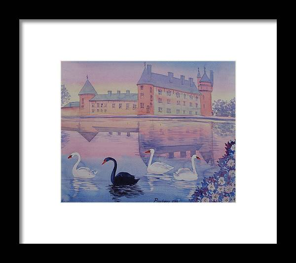 Landscape Framed Print featuring the painting Early Morning Upon A Manor Lake.landscape Of France. by Natalia Piacheva