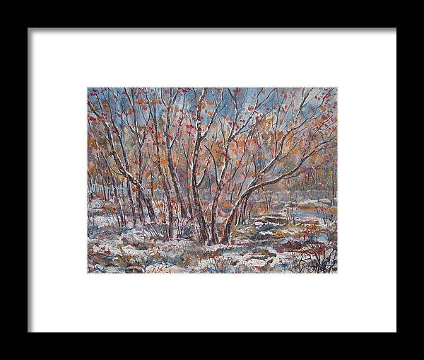 Landscape Framed Print featuring the painting Early Snow. by Leonard Holland