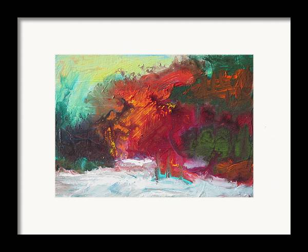 Tree Framed Print featuring the painting Early Snow by Robert Bissett