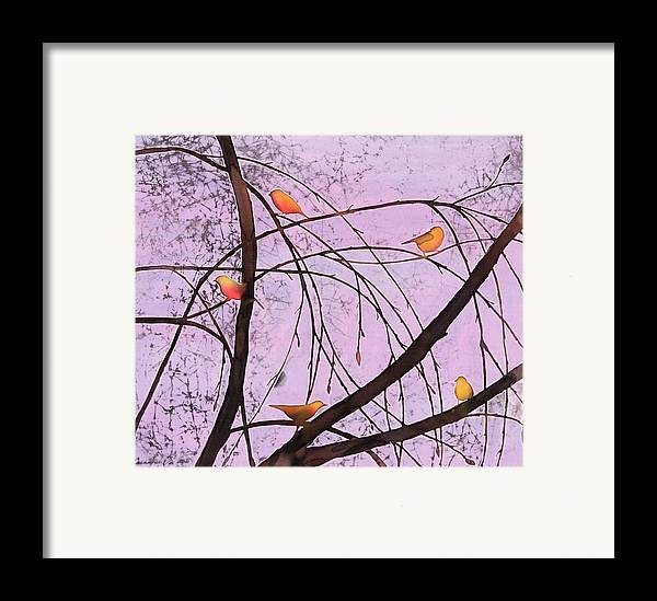 Song Framed Print featuring the tapestry - textile Early Spring 2 by Carolyn Doe