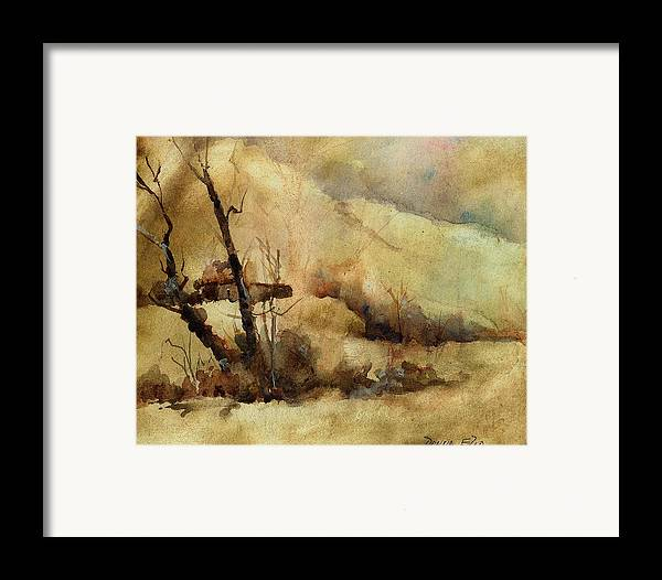 Watercolor. Impressionist. Landscape Framed Print featuring the print Early Winter by Donna Elio