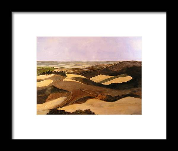 Landscape Framed Print featuring the painting Earth And Dunes by Lena Shugar