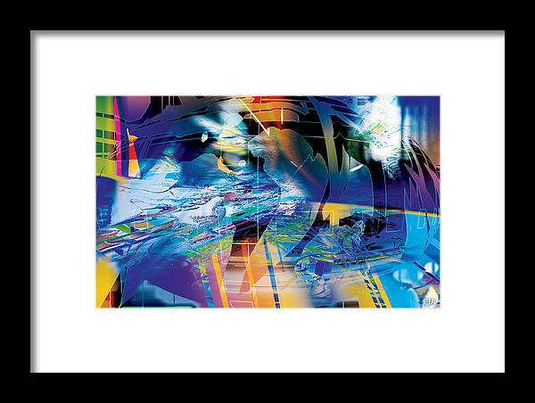 Abstract Framed Print featuring the digital art Earth Lights by Eric J Amsellem