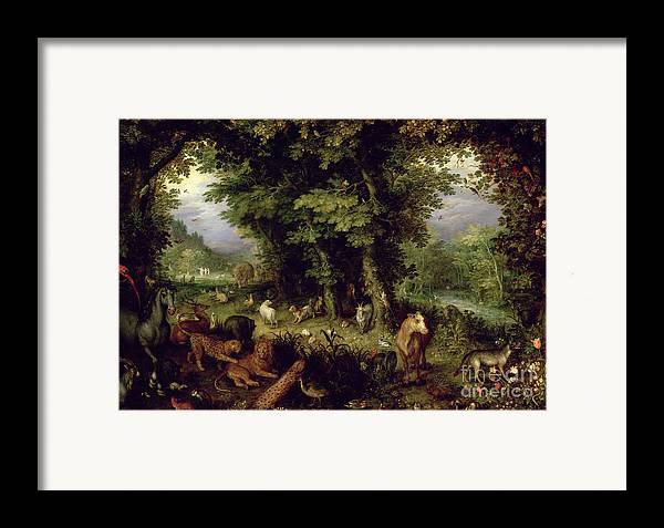 Animal; Animals Framed Print featuring the painting Earth Or The Earthly Paradise by Jan the Elder Brueghel