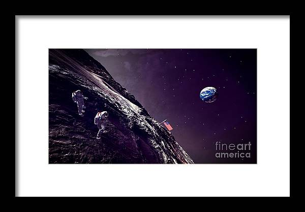 Earth Rise On The Moon Framed Print featuring the digital art Earth Rise On The Moon by Methune Hively