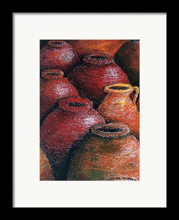 Earthen Framed Print featuring the painting Earthen Vessels Iv by Jun Jamosmos