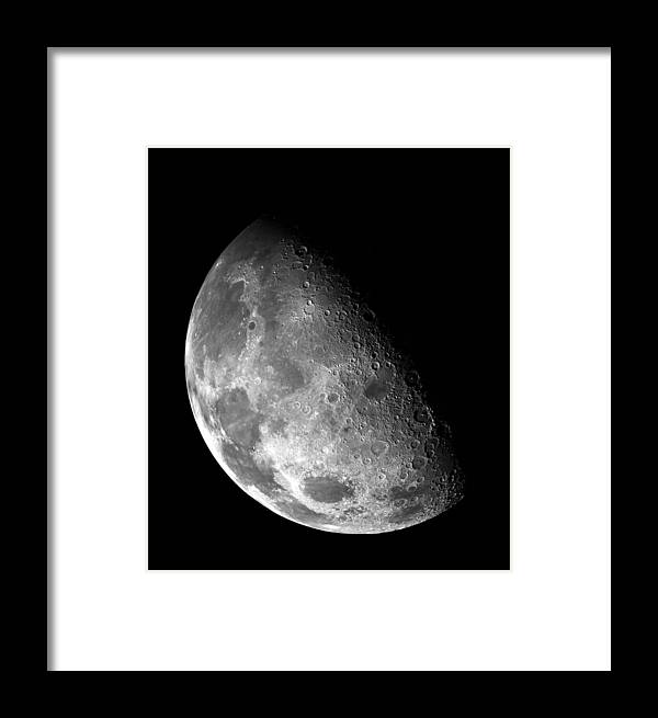 Nebula Framed Print featuring the photograph Earth's Moon In Black And White by Jennifer Rondinelli Reilly - Fine Art Photography