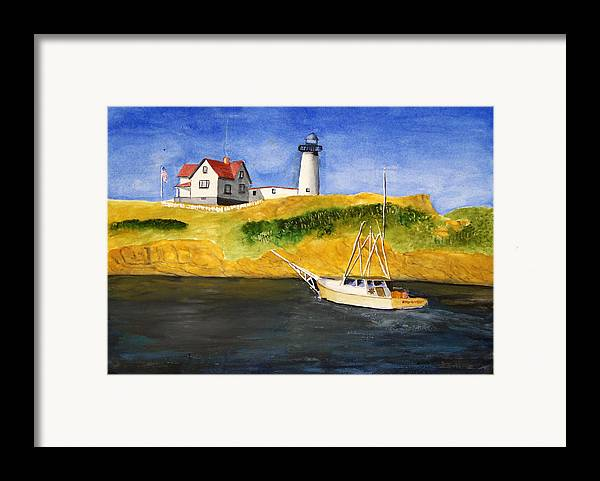 Lighthouse Framed Print featuring the painting East Coast Lighthouse With Crab Boat by Robert Thomaston
