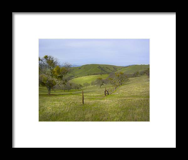 Landscape Framed Print featuring the photograph East Ridge Trail Barbed Wire by Karen W Meyer