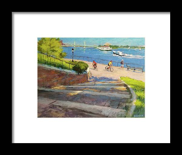 Landscape Painting Framed Print featuring the painting East River From Carl Schurz Park by Peter Salwen