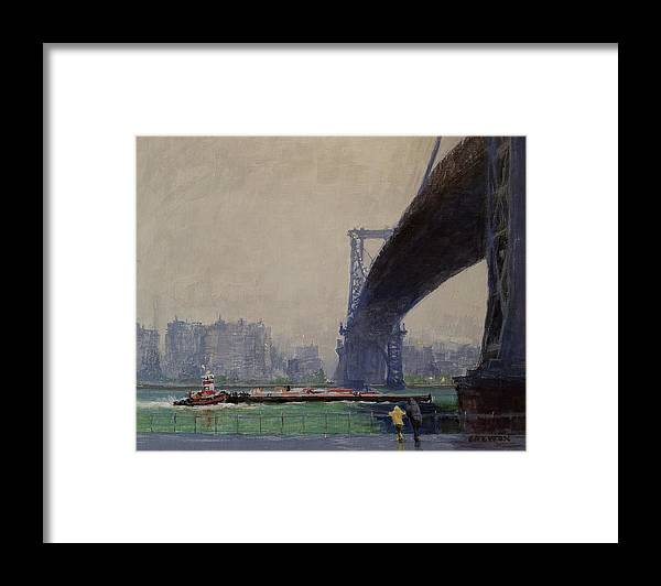 Landscape Painting Framed Print featuring the painting East River Mist by Peter Salwen