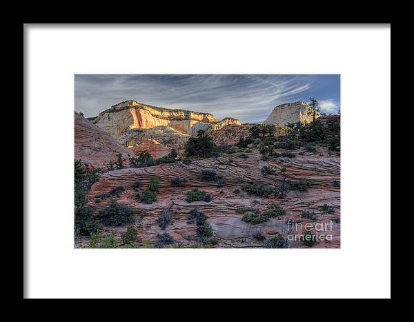 Hdr Framed Print featuring the photograph East Zion Canyon Sunrise by Sandra Bronstein