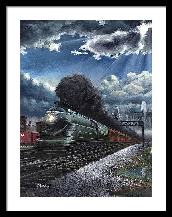 Train Framed Print featuring the painting Eastbound Broadway Limited by David Mittner