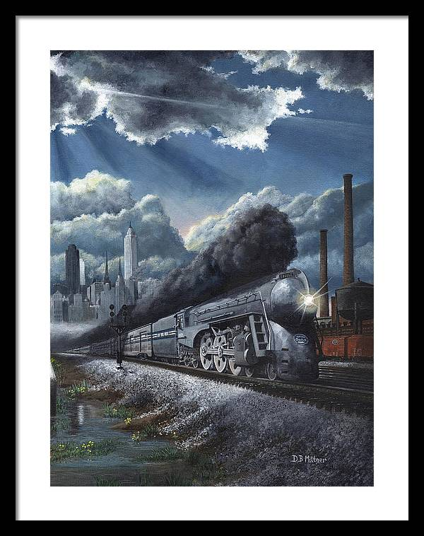 Train Framed Print featuring the painting Eastbound Twentieth Century Limited by David Mittner