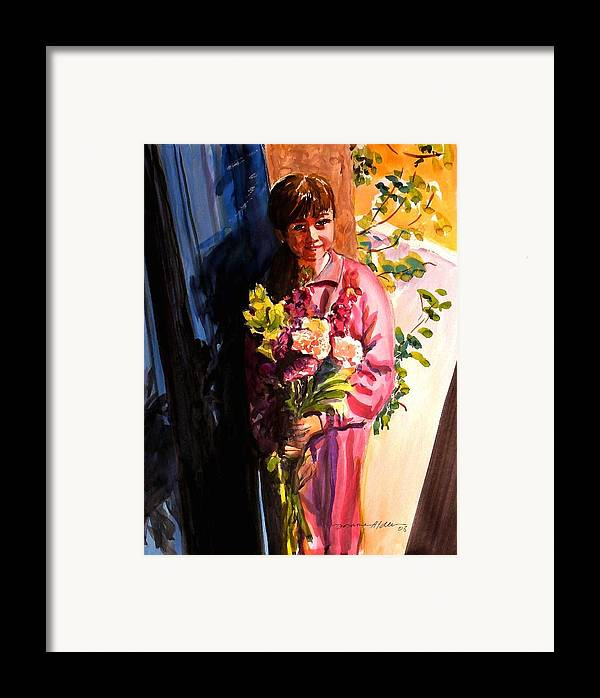 People Framed Print featuring the painting Easter Bouquet by Doranne Alden
