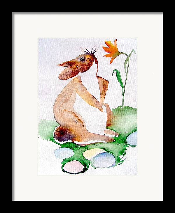 Bunny Framed Print featuring the painting Easter Bunny by Mindy Newman