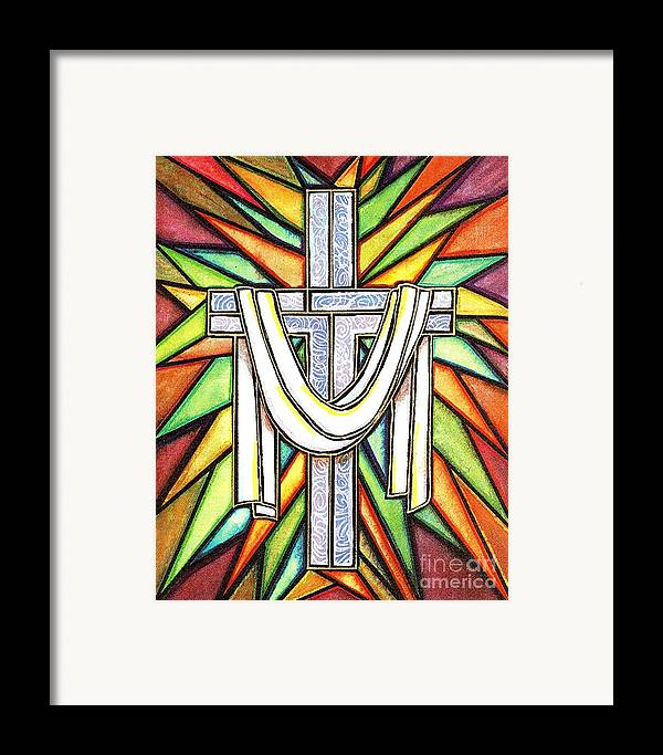 Cross Framed Print featuring the painting Easter Cross 5 by Jim Harris