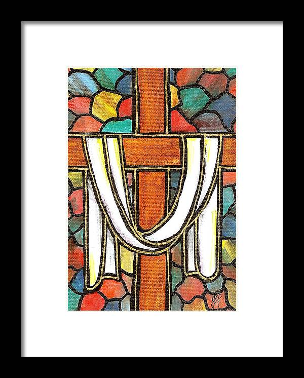 Easter Framed Print featuring the painting Easter Cross 6 by Jim Harris