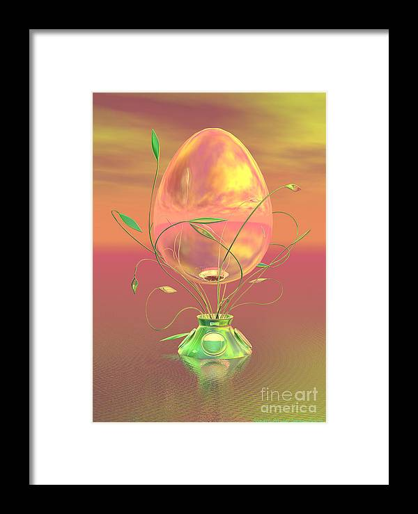 Easter Framed Print featuring the digital art Easter Egg by Sandra Bauser Digital Art