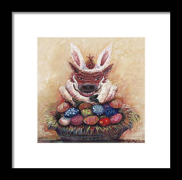 Easter Framed Print featuring the painting Easter Hog by Nadine Rippelmeyer