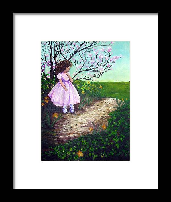 Landscape Child Girl Brunette Party Dress Flowers Impressionist Framed Print featuring the painting Easter In Hershey by Hilary England