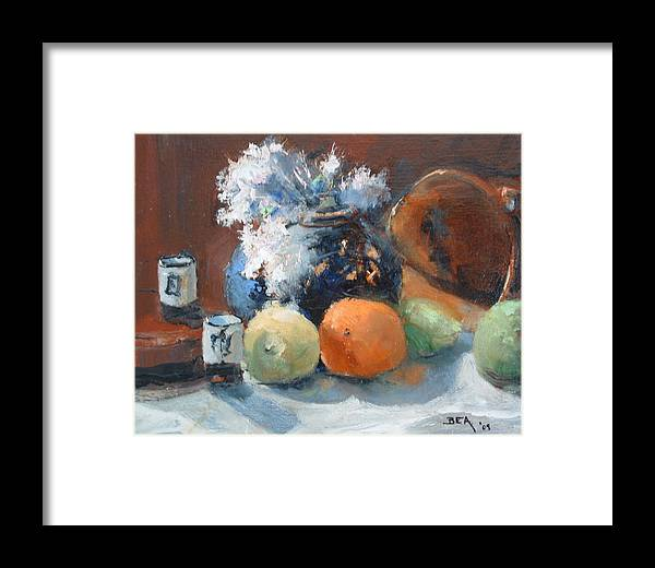 Still Life Jasmine In Bloom Framed Print featuring the painting Easter Jasmine by Bryan Alexander