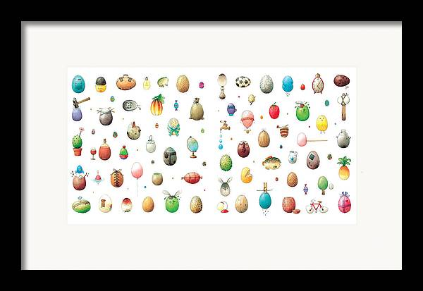 Eggs Easter Framed Print featuring the painting Eastereggs by Kestutis Kasparavicius