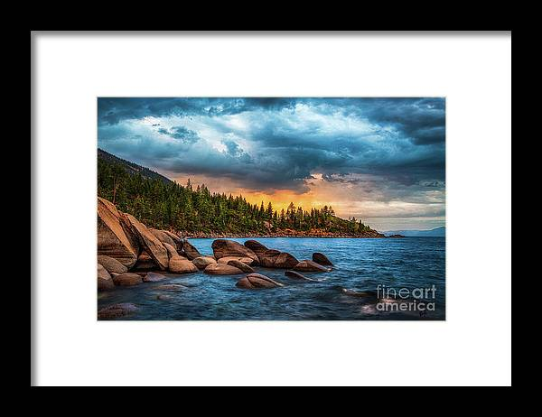 Lake Tahoe Framed Print featuring the photograph Eastern Glow at Sunset by Anthony Michael Bonafede